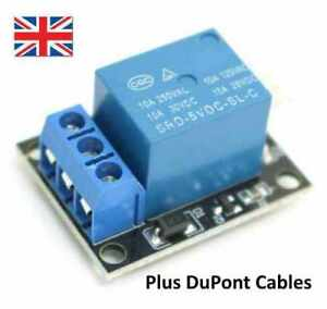 Details about Single channel relay board, 5V operation + connection cables,  Arduino, UK Seller