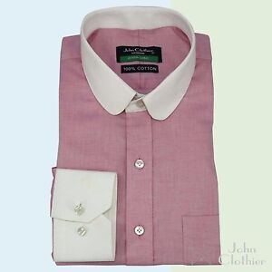 Penny collar shirt pink Banker style for Men Round Club collar Gents PXXu5v1hWG