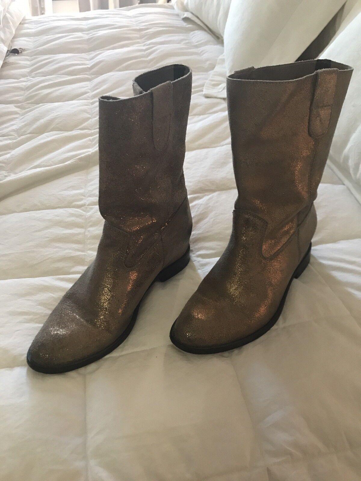 Anthropologists Schutz gold crackle mid calf Leder boots 37