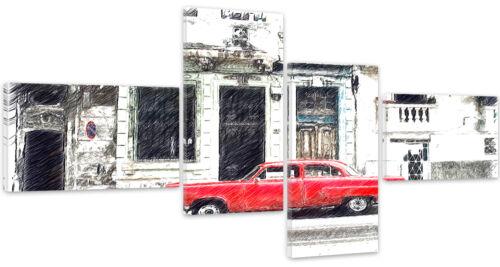 MODERN HD ART Weiß Rot Auto 2096 54 Muster TOP LEINWAND BILD BILDER