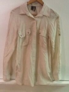 dc98cf77458bf8 Mango Silk Blend Top Women s Blouse Sheer Beige Button Down shirt ...