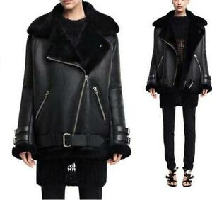 Frakke Bomber Shearling Parka Oversized Fur Dame Leather Chic Jakke Black Cool IXxY0S