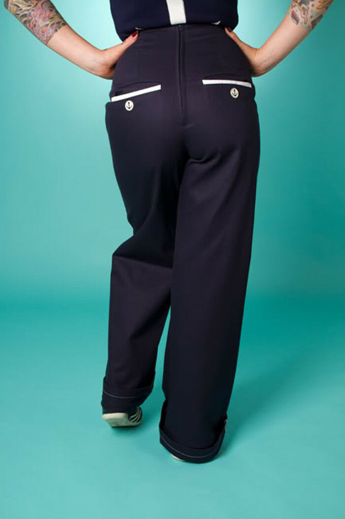 Pantaloni Swing Svasato Gamba Larga UK18 Plus Dimensione Marinaio Blu Blu Blu Scuro Vita Alta Stile Retrò f4987a