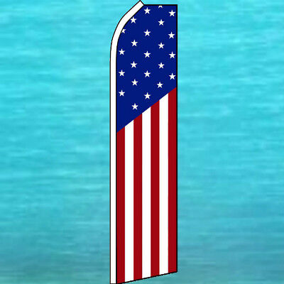 Blue Swooper Feather Advertising Flag White USA Star Spangled Banner Red