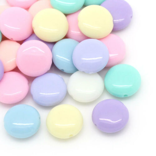 200 Hello New Candy Color Acrylic Spacer Beads Oblate Mixed 12x5mm