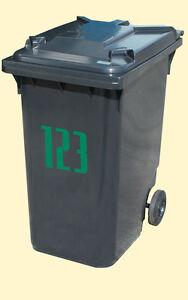 Reflective-Emerald-Green-Wheelie-Rubbish-Bin-Number-Vinyl-Sticker-210-mm-tall