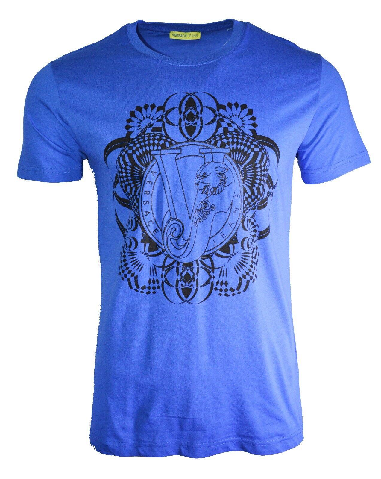 BNWT Versace Jeans VJ Stampa Tigrata T-shirt Blu & Nero