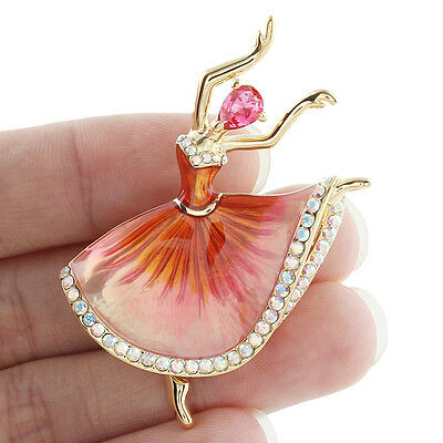 Art Deco Dancing Girl Drop Brooch Pin Zircon Austrian Crystal Pink Enamel
