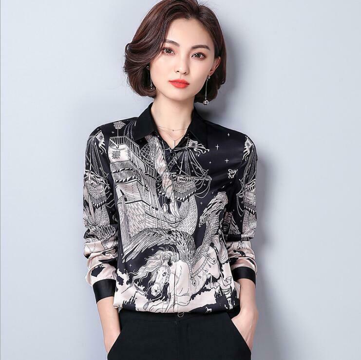 Women 2019 new fashion printed slim professional dress Korean OL Blouse Tops@new