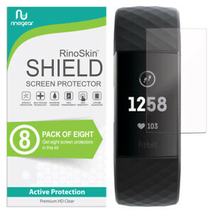 8-PACK-For-Fitbit-Charge-3-Screen-Protector-RinoGear-USA-Lifetime-Replacements