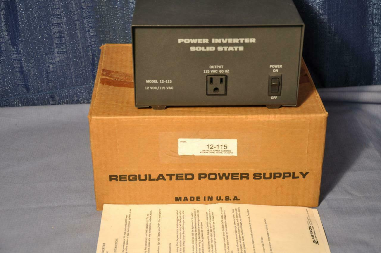 Astron 12-115 Solid State Power Inverter 12VDC-in/115VAC-out 200W Continuous USA