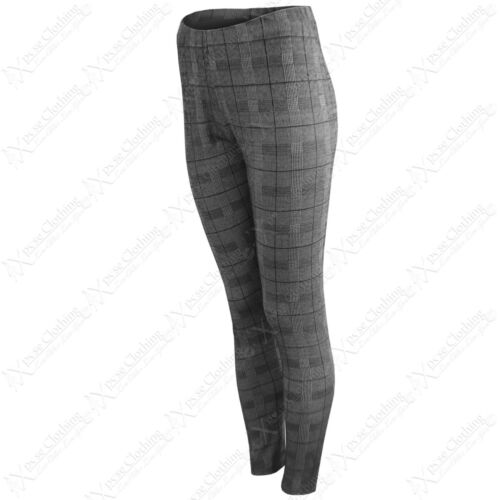 NEW LADIES MONO CHECK PRINT TROUSERS WOMEN LEGGINGS HIGH WAISTED  PANTS JEGGINGS