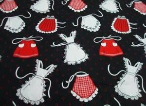 "Vintage aprons on Black 100% Cotton 1/4 Yd 9"" x WOF Yardage Red white kitchen"
