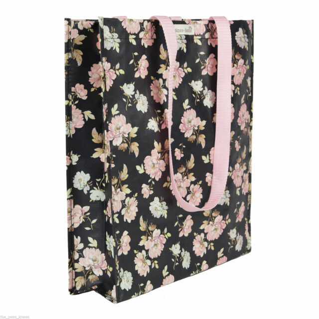 Pretty and Functional Woven Plastic Shopper Tote Bag -  French Rose