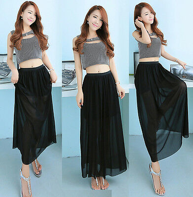 New Sexy Women's Long Skirt 2 Layers Tulle Pleated Layer Chiffon Maxi Full Dress
