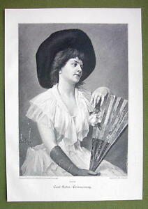 LOVELY-LADY-Holding-Fan-Pensive-VICTORIAN-Era-Print-Engraving