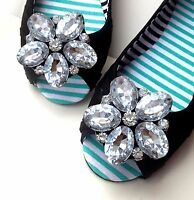 Sparkling Acrylic Crystal Wedding Flower Bridal Silver Tone Shoe Clips Pair