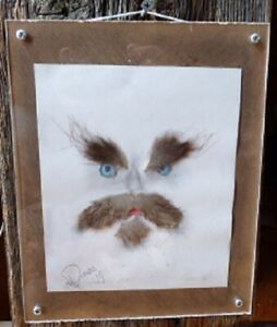 Small-original-Art-Deco-plexiglass-frame-Mixed-Arts-Real-fur-9-039-039-X-7-039-039