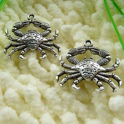 Free Ship 35 pieces tibetan silver crab charms 24x23mm #440