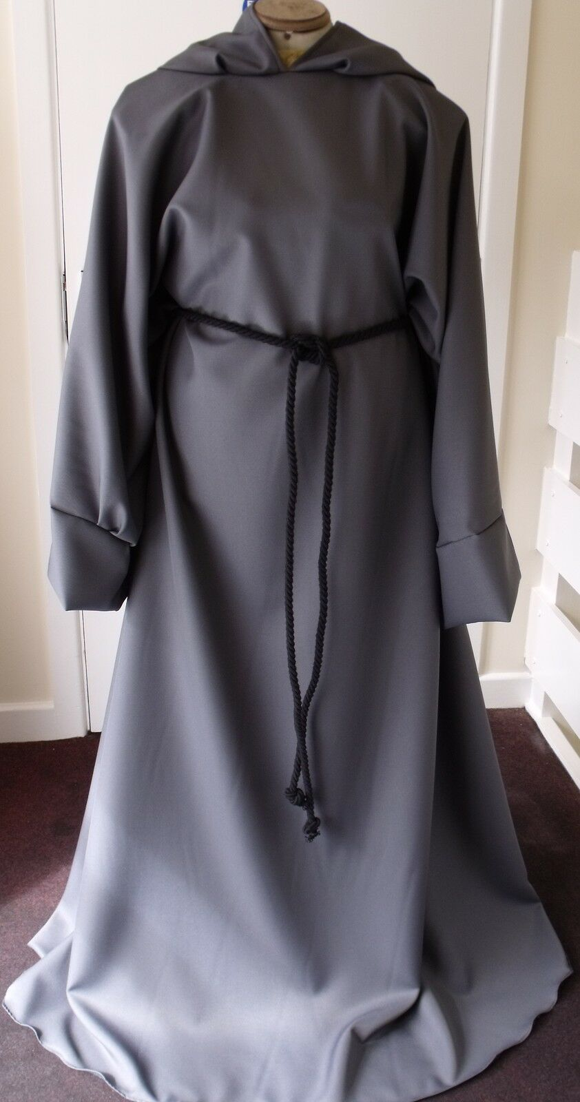 DARK GREY ROBE PAGAN JEDI WIZARD LARP HALLOWEEN fancy dress Gandalf