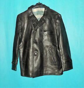 veste de brasseur vintage GRAULHET TCB année 1973 cuir noir doublé laine t XL