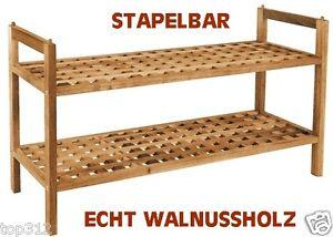 Schuhschrank-Schuhablage-Schuhstaender-Schuhregal-Holz-Walnussholz-Schuh-Regal