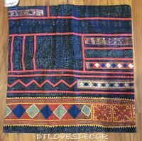Pottery Barn Mia Applique Embroidered 20x20 Pillow Cover Blue Multi