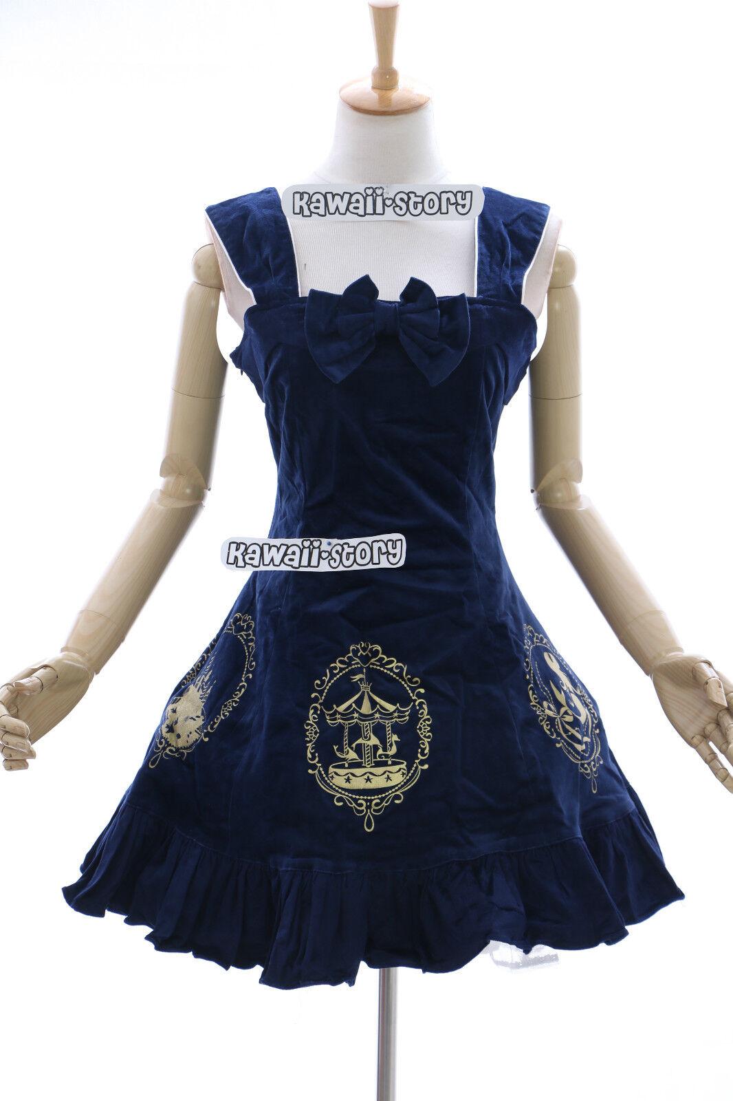 Jl-554 bleu stretch Mermaid Velours Gothique Lolita Robe Cosplay JSK or