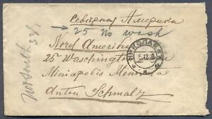 RUSSIA: 1912 Cover from Nikolayevsk to Minneapolis, USA - Address Corrected