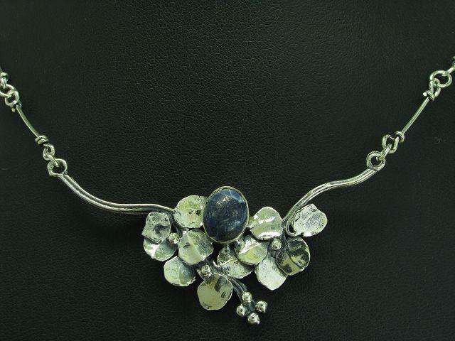 925 STERLING silver COLLIER MIT blueEM QUARZ BESATZ   ECHTsilver   10,8g   45 cm