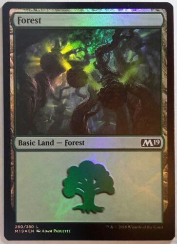 4x FOIL Forest #280 Adam Paquette art Near Mint basic land Core Set 2019 M19 x4