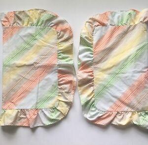 Vtg-Pair-Sears-PermaPrest-Bon-Bon-Pillow-Shams-Diagonal-Stripes-Ruffles