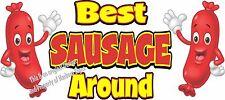 """Best Sausage Around Decal 14"""" Hot Dog Cart Concession Food Truck Vinyl Sticker"""