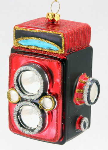 Glass Twin Lens Camera Christmas Ornament Red
