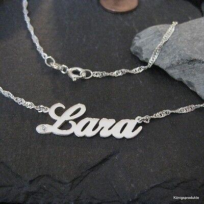 Wunsch Namenskette in 925er Silber mit Zirkonia, mit einer Singapurkette, NEU
