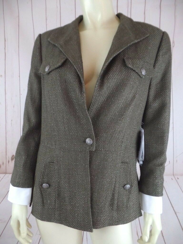 Carlisle Blazer Coat 4 Dale Style Viscose Cotton Textured Army Green Shimmer New