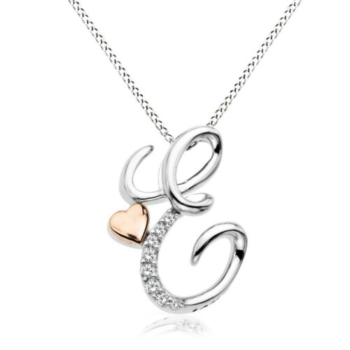 """Details about  /Round Natural Diamond /""""E/"""" Initial Pendant 14k Gold Over 925 Sterling Silver"""