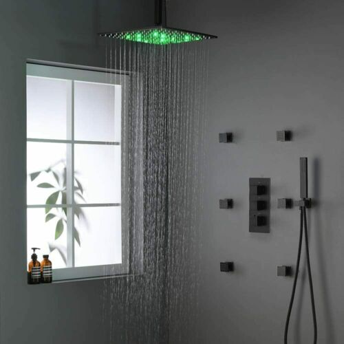 Matte Black LED Thermostatic Shower Faucet Rainfall Massage Jets W//Hand Spray1