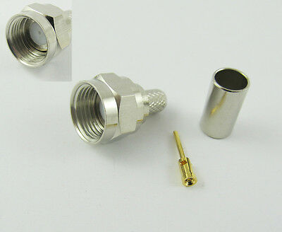 TNC Male Plug RF Connector Crimp for RG58 RG142 LMR195 Nickel Brass Straight New