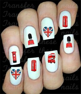30 british uk union jack london nail art decals water slides image is loading 30 british uk union jack london nail art prinsesfo Gallery