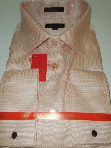 Mens Sophisticated Pink Blush Sparkle French Cuff Leonardi Shirt Style 450