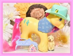 My-Little-Pony-G1-Vtg-COMPLETE-BIG-BROTHER-Boy-TEX-Cowboy-Hat-Clydesdale