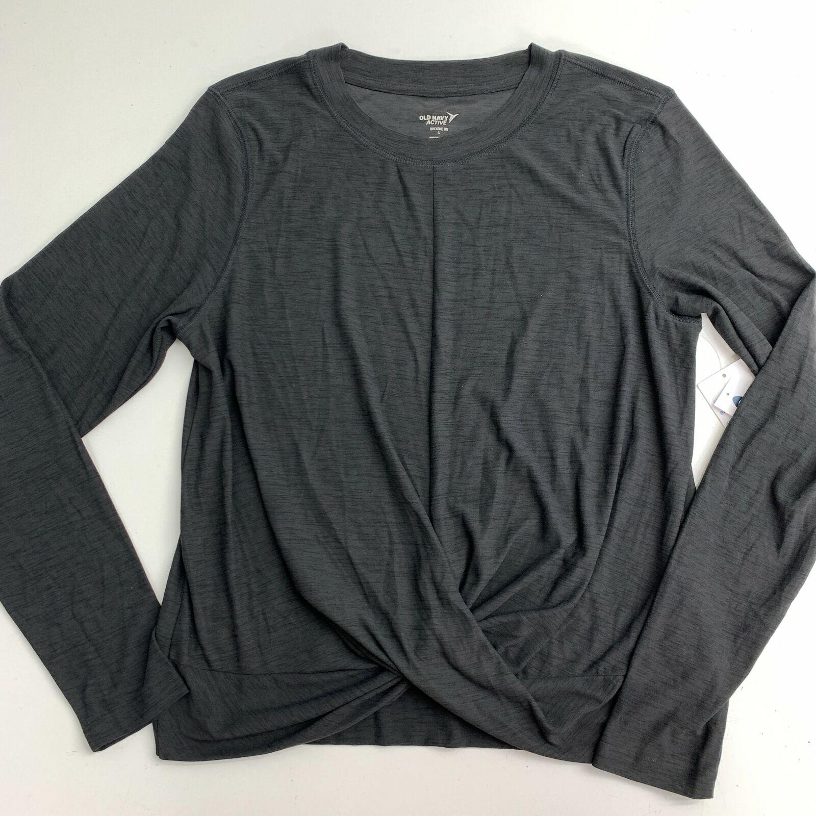 NWT Old Navy Yoga T-Shirt Top Women's L Gray Draped Hem Long Sleeve Gym Workout