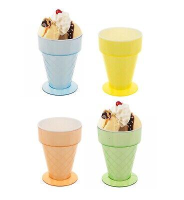 Set of 4 x Plastic Ice Cream Sundae Dish Dessert Cocktail Fruit Cone Shaped Bowl