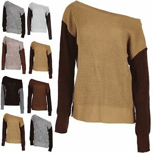 a72b1da80770 Image is loading Womens-Off-the-Shoulder-Jumper-Contrast-Sleeve-Ladies-