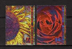 13385-UNO-ONU-US-2001-MNH-Nuovi-Definitives-flowers-2v