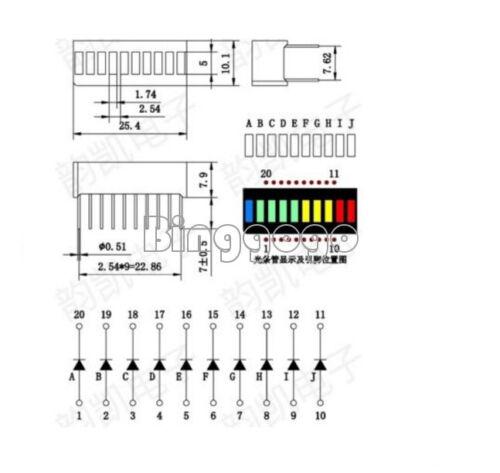 5PCS NEW Blue Green Yellow Red 10 Segment Colorful LED BAR Graph Indicator DIP