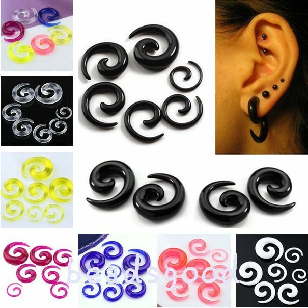Pair Candy Color Acrylic Spiral Taper Plugs Earlet Ear Expander Stretcher 2-10mm