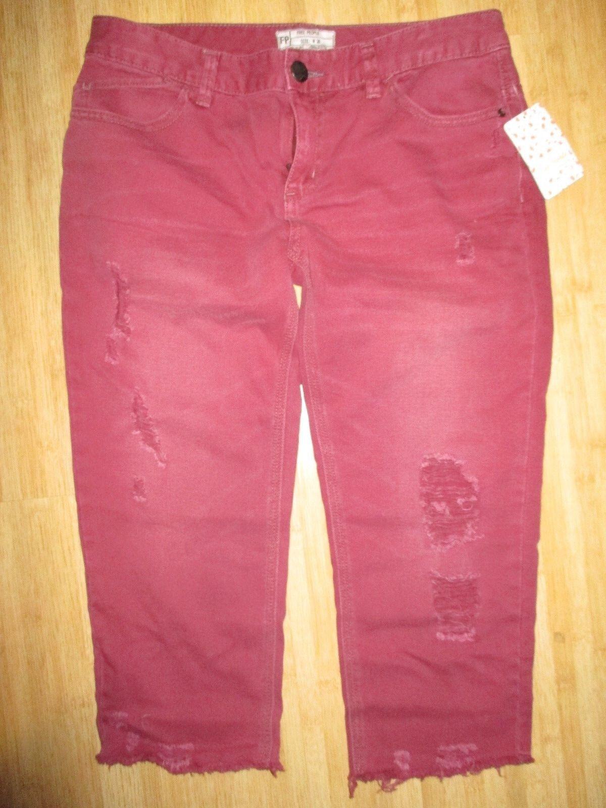 NEW FREE PEOPLE 26 Denim Destroyed Cut-Off Capri Pants Jeans  78 RV Maroon