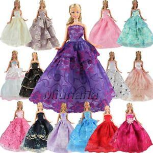 Détails Sur 5 Sets Vestidos Hechos A Mano Vestido Ropa Para Muñeca Barbie Regalo Navidad